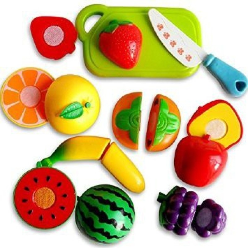 Meera's Realistic Sliceable Fruits Cutting Play Toy Set with Velcro...