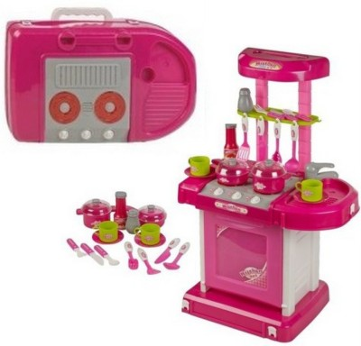 RVOLD Portable Kitchen Set With Lights & Cooking Sound Toy For Kids pink