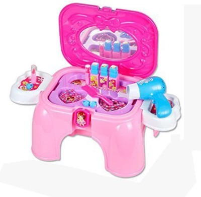 Just Toyz Carry Along Beauty set for Kids 2-in-1 storage cum Chair stool Play Kit