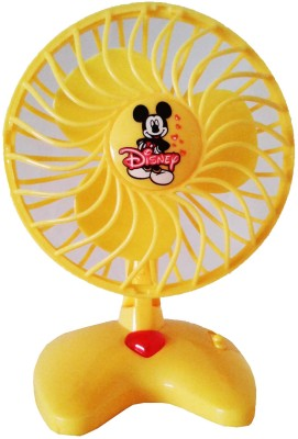 Vaibhav Disney Cute Mini Yellow Plastic Toy Fan For Kids - Battery Operated