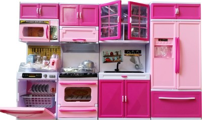 STERLING Modern Kitchen Battery Operated Toy with 4 Compartments Kitchen Dolls Play Set