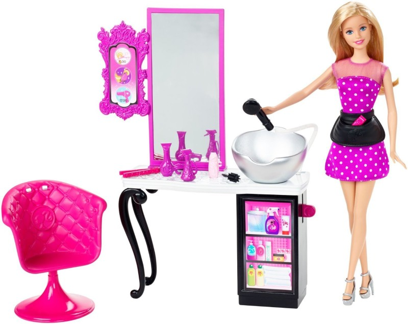 Barbie Malibu Ave Salon with Barbie Doll Playset(Pink)