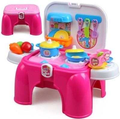 Just toyz Kids Role Play Kitchen Set 2-in-1 storage cum sitting chair stool