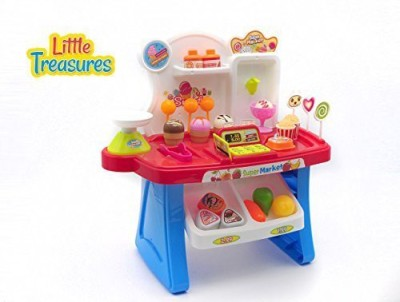 Little Treasures Play Set - Store shopping realistic pretend play with 34pcs, battery operated - fun, learning game for preschoolers involving supermarket items and groceries, with light and sound effects