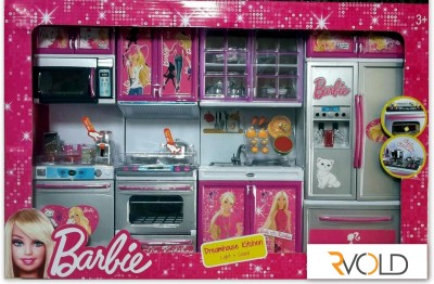 RVOLD Barbie 4 Set Beautiful Kitchen With Lights And Sound