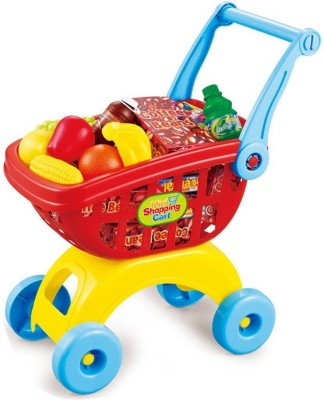Building Mart Fun Shopping Trolley With Toy Food Play
