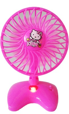 STERLING Hello Kitty Cute Mini Battery Operated Pink Plastic Toy Fan For Kids