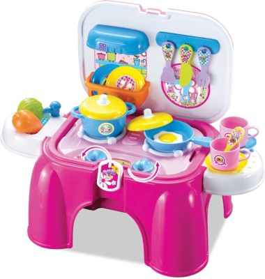 Tiny Mynee 2 In 1 Carry-On Kitchen Play Set cum stool With Lights & Sounds For Your Little Princess