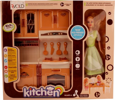 RVOLD Battery Operated Kitchen Play Set With Play Doll