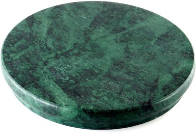 Chave Round Green Marble Rolling Panel , Chakla , Roti Maker , Cheese Pastry Cake Cutting Plank 8.7 inch Diameter - Heavy Marble Kitchen Accessories Board