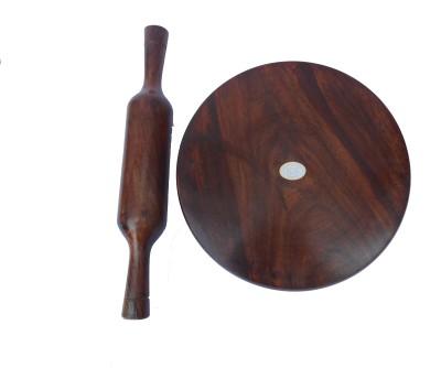 HANDICRAFT HEAVY SHEESHAM WOOD MADE DIA-10INCH Rolling Pin & Board