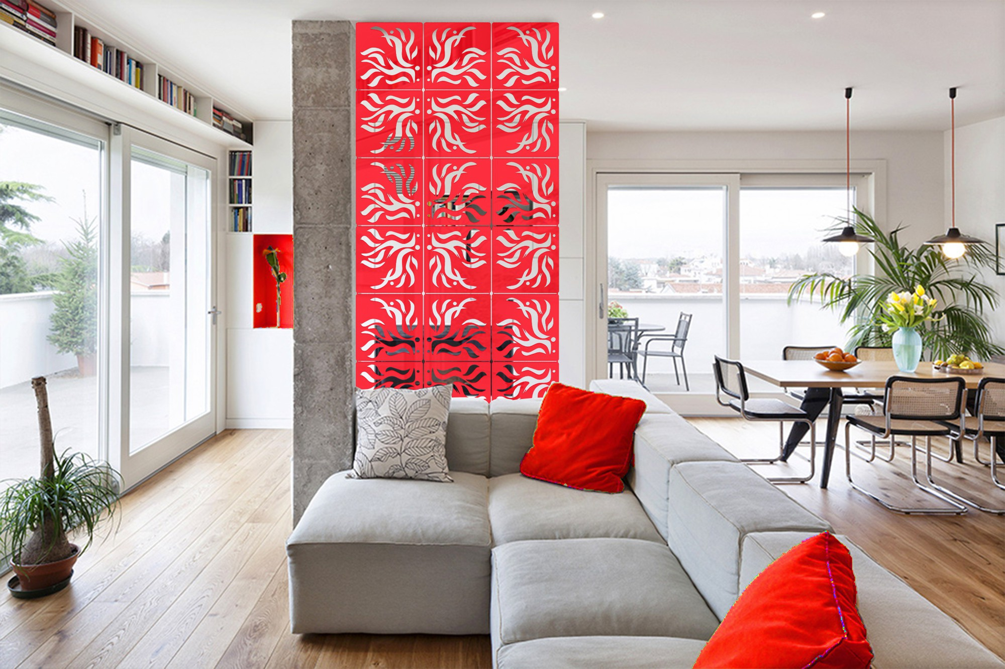 View Planet Decor Plastic Decorative Screen Partition(Hanging, Finish Color - Red) Furniture (Planet Decor)