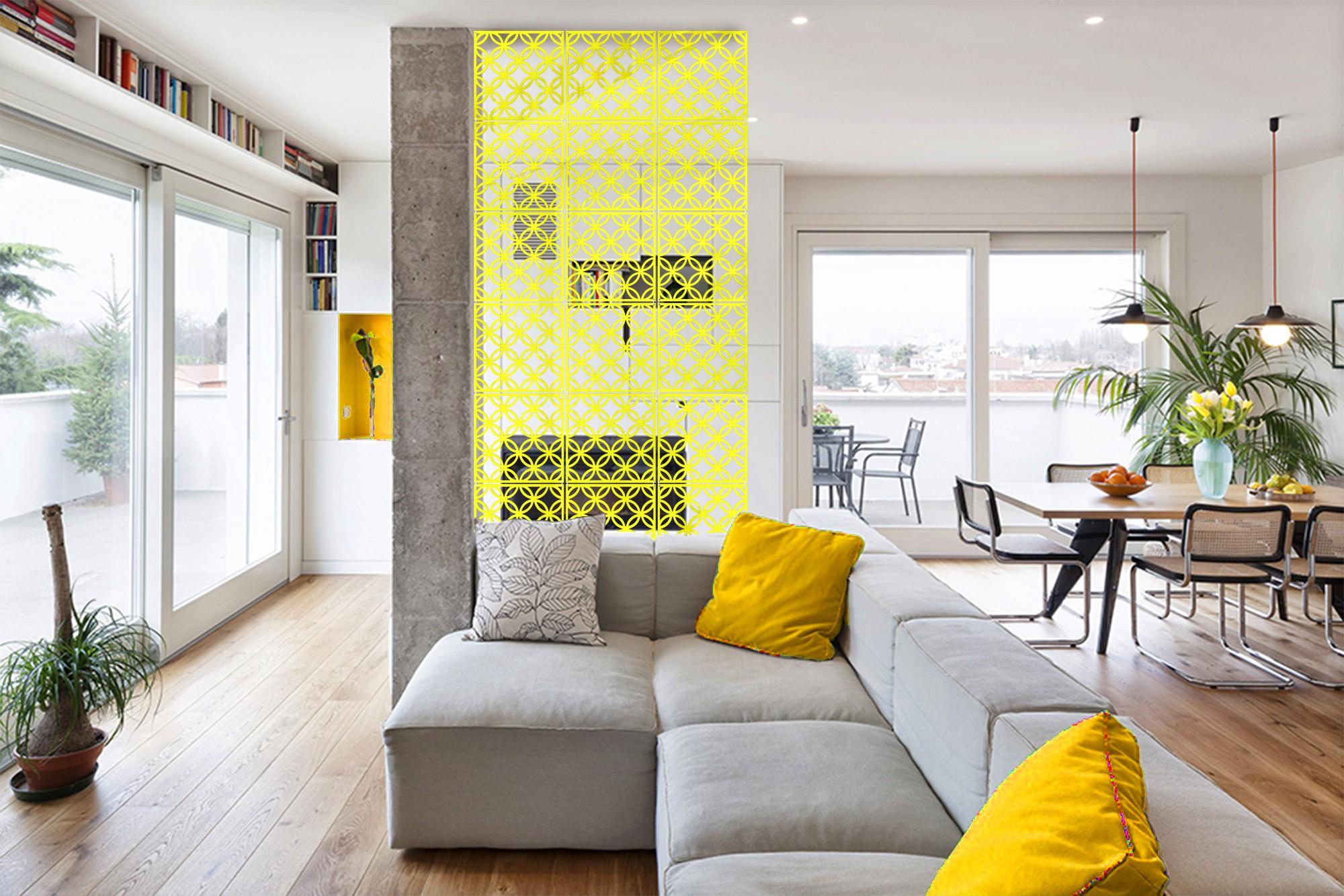 View Planet Decor Plastic Decorative Screen Partition(Hanging, Finish Color - Yellow) Furniture (Planet Decor)