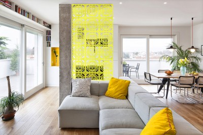 Planet Decor Plastic Decorative Screen Partition(Hanging, Finish Color - Yellow)