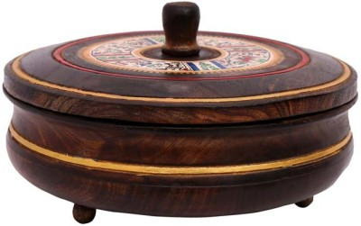 INDIKALA Warli painted ethnic wooden chapati box (Diameter 8 inches) Printed Roti Flap Cover(Green)