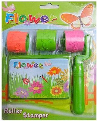 OZ FLOWER/ SMILEY ROLLER STAMPER WITH INK STAMP