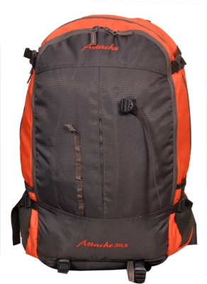 Attache Hiking Backpack (Orange & Grey) With Rain Cover Rucksack  - 35 L