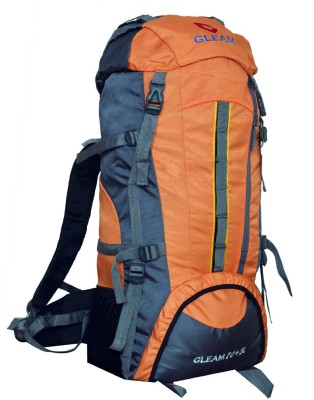Gleam 2209 Climate Proof Mountain Campaign / Hiking / Trekking Bag / Backpack 75 ltrs Orange & Grey with RAIN COVER Rucksack - 75 L(Orange)