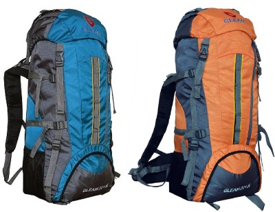 Gleam 2209 Climate Proof Mountain Campaign/Hiking/Trekking Bag/Backpack 75 ltrs (Sky Blue & Orange ) PACK of 2 with RAIN COVER Rucksack - 75 L(Multicolor)