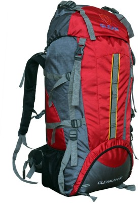 Gleam 2209 Climate Proof Mountain Campaign / Hiking / Trekking Bag / Backpack 75 ltrs Red & Grey with RAIN COVER Rucksack - 75 L(Red)