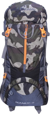 Gleam 0109 Climate Proof Mountain / Hiking / Trekking / Campaign Bag / Backpack 75 ltrs Camouflage & Grey with Rain Cover Rucksack - 75 L(Multicolor)