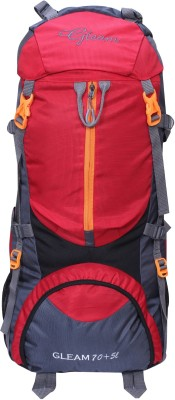 Gleam 0109 Climate Proof Mountain / Hiking / Trekking / Campaign Bag / Backpack 75 ltrs Red & Grey with Rain Cover Rucksack - 75 L(Multicolor)