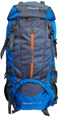 Attache Climate Proof Rucksack, Hiking Backpack 75Lts Blue & Grey With Rain Cover Rucksack - 75 L(Multicolor)