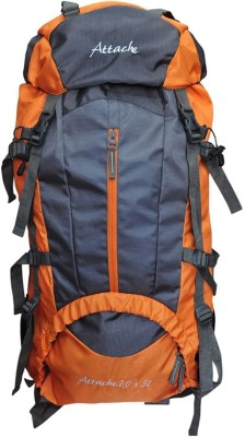 Attache Climate Proof Rucksack, Hiking Backpack 75Lts Orange & Grey With Rain Cover Rucksack - 75 L(Multicolor)