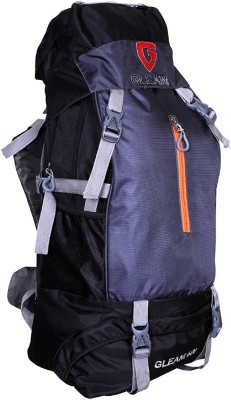 Gleam 2209 Climate Proof Mountain Campaign / Hiking / Trekking Bag / Backpack 60 ltrs Black & Grey with RAIN COVER Rucksack - 60 L(Multicolor)