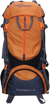 Gleam 0109 Climate Proof Mountain / Hiking / Trekking / Campaign Bag / Backpack 75 ltrs Orange & Grey with Rain Cover Rucksack - 75 L(Multicolor)