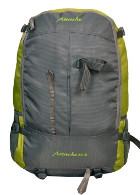 Attache Hiking Backpack (Green & Grey) With Rain Cover Rucksack  - 35 L