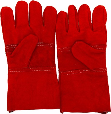 Safies Leather RED Pack of 6 pair Leather  Safety Gloves(12)