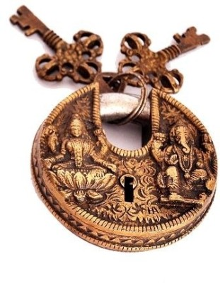 Indigo Creatives Vastu Antique Gold Look Goddess Lakshmi + Lord Ganesha Safety Lock Safety Lock