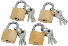 DOCOSS Pack Of 4-Small Brass Travel Luggabe Bag 25 mm 3 Keys Good Quality Safety Lock(Gold)