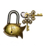 Unravel India Fish Brass Safety Lock (Go...