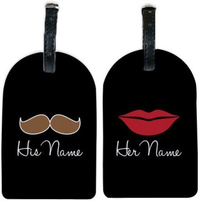 Perfico Red lips and Moustache Luggage Tag
