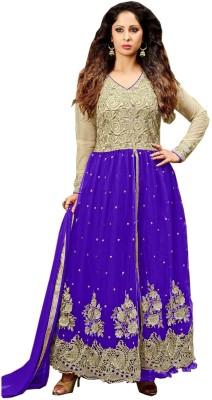 Viha Net Embroidered Semi-stitched Salwar Suit Dupatta Material