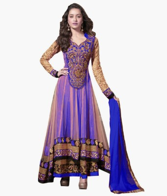 Leepsprints Georgette Embroidered Semi-stitched Salwar Suit Dupatta Material