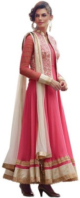 NWELOOK Georgette Embroidered Semi-stitched Salwar Suit Dupatta Material