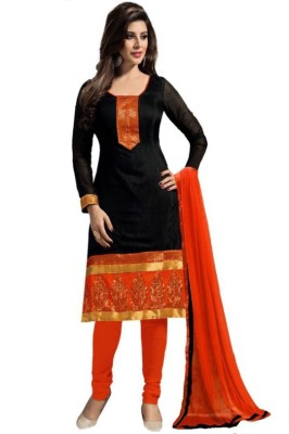 MusicMania Chanderi Embroidered Semi-stitched Salwar Suit Dupatta Material