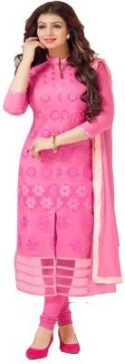 FASHIONUMA Chanderi Embroidered Semi-stitched Salwar Suit Dupatta Material