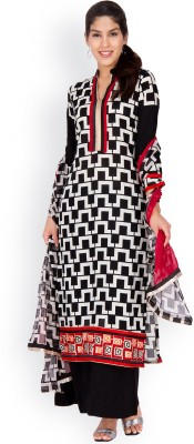 EthnicQueen Cotton Geometric Print, Solid Dress/Top Material