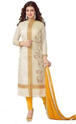 FASHIONUMA Cotton Embroidered Semi-stitched Salwar Suit Dupatta Material