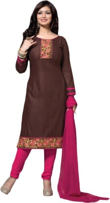 LongFashion Cotton Embroidered Semi-stitched Salwar Suit Dupatta Material