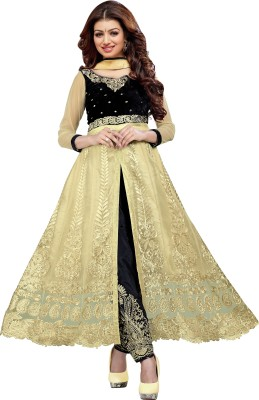 Fashion Bucket Net Embroidered Semi-stitched Salwar Suit Dupatta Material