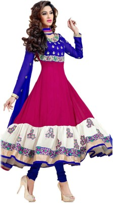 Vrundavan Fashion Georgette Self Design Dress/Top Material