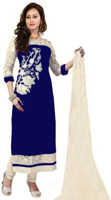 Manvar Enterprise Georgette Embroidered Semi-stitched Salwar Suit Dupatta Material