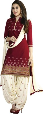 Red Apple Cotton Self Design Salwar Suit Dupatta Material