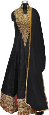 Fashion Fiza Silk Embroidered Semi-stitched Salwar Suit Dupatta Material