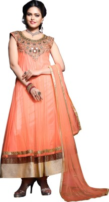 MADA Net Embroidered Semi-stitched Salwar Suit Dupatta Material
